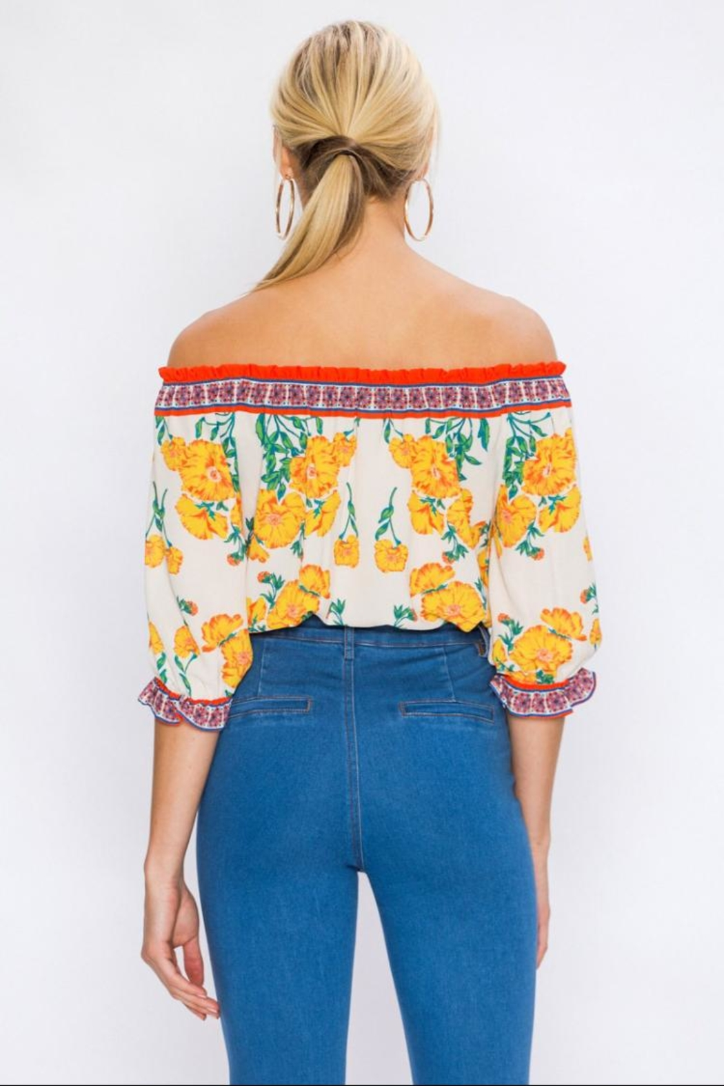 Flying Tomato Off-Shoulder Floral Top - Side Cropped Image