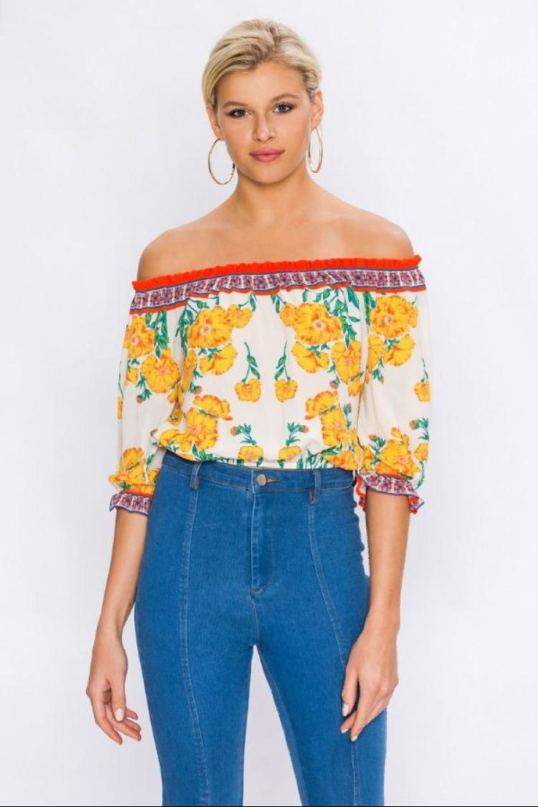 Flying Tomato Off-Shoulder Floral Top - Main Image