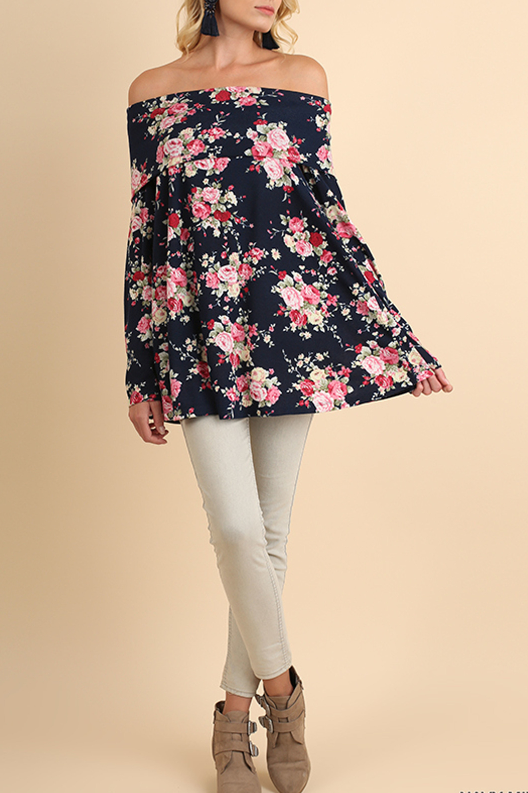 Off Shoulder Floral Tunic - Front Cropped Image