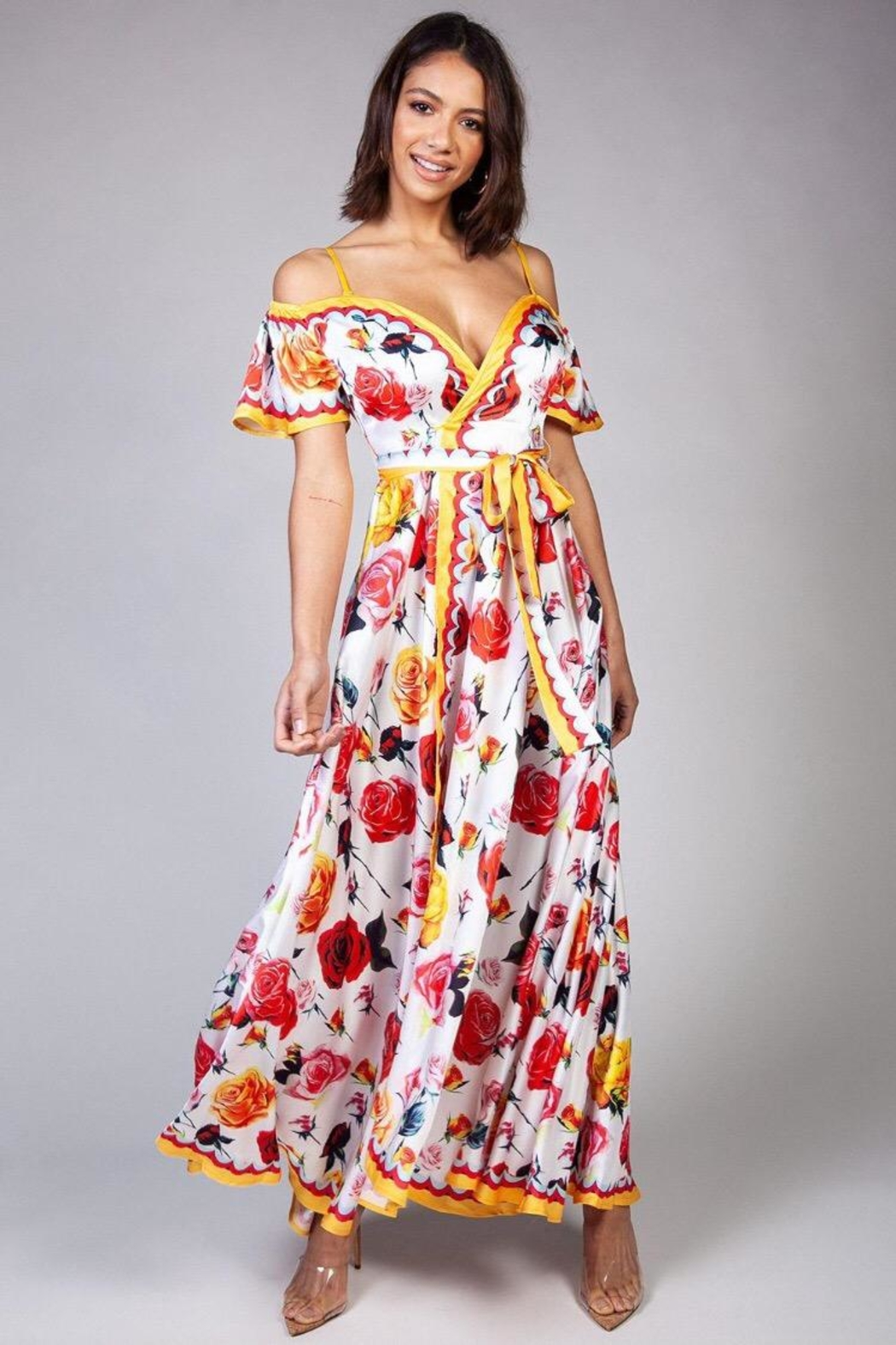 Latiste Off-Shoulder Floral Wrap-Dress - Main Image