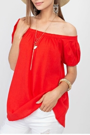 easel Off-Shoulder Flowy Blouse - Product Mini Image