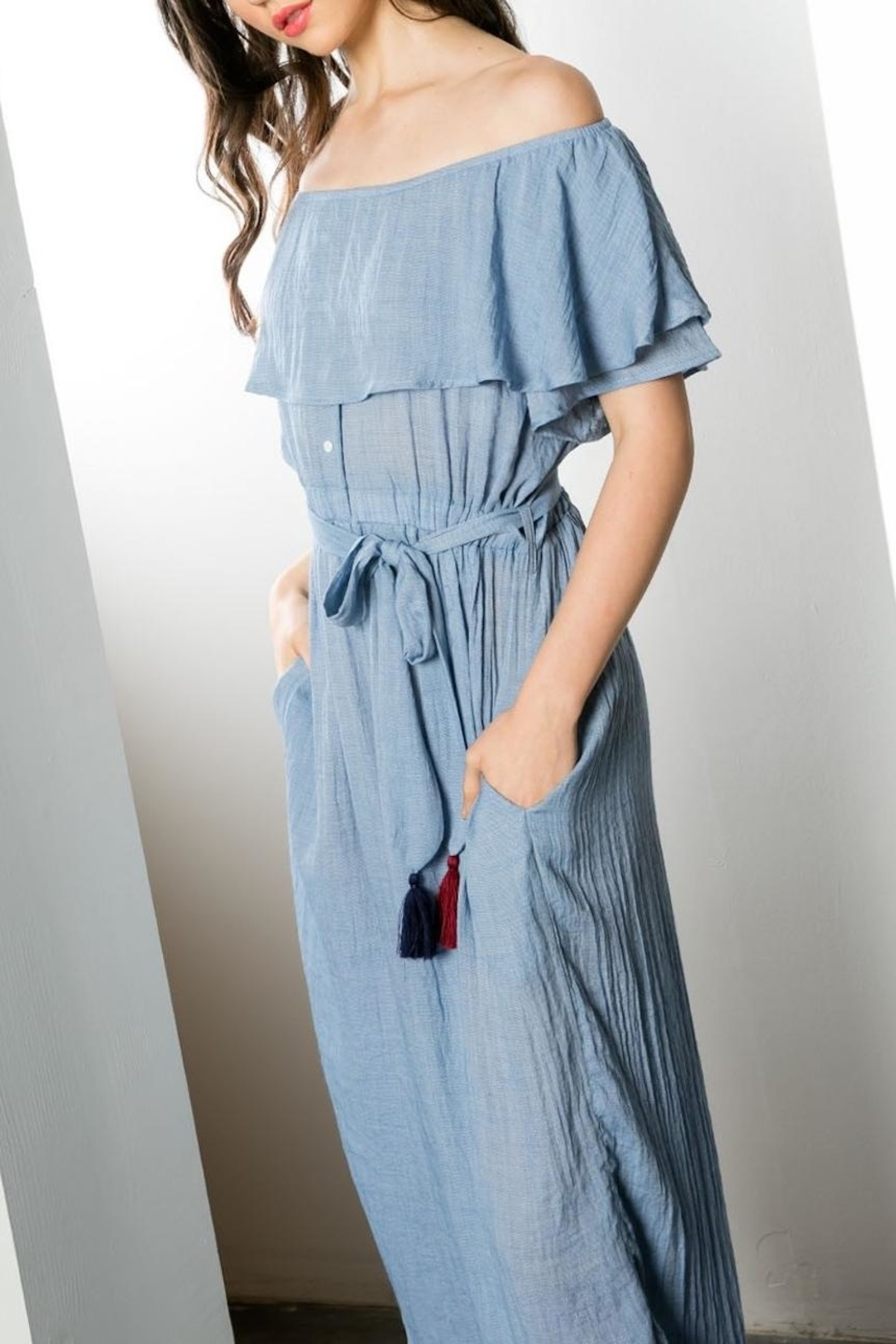 THML Clothing Off Shoulder Jumpsuit - Back Cropped Image
