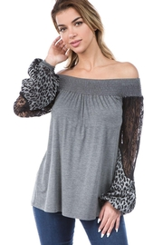 Vava by Joy Hahn Off Shoulder Lace and Leopard Arm Top - Front cropped