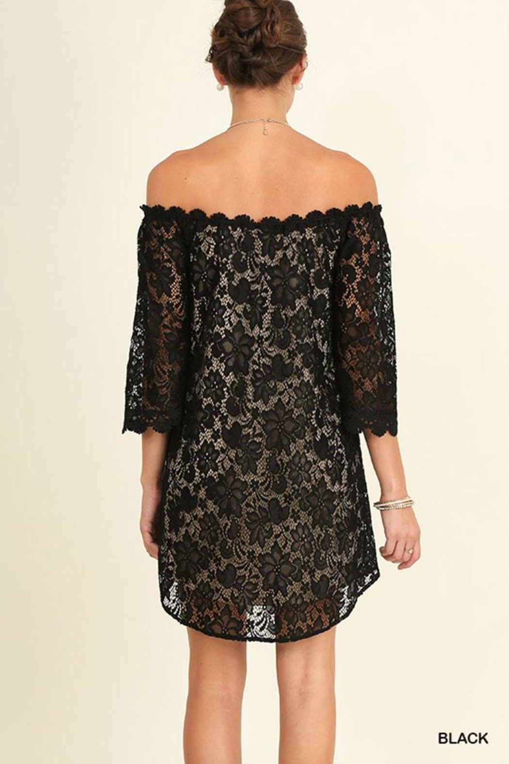 Umgee USA Off Shoulder Lace-Dress - Front Full Image