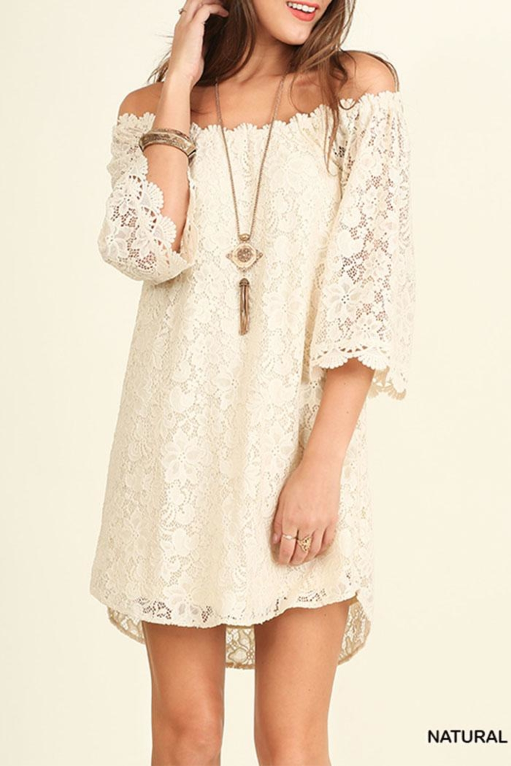 Umgee USA Off Shoulder Lace-Dress - Front Cropped Image