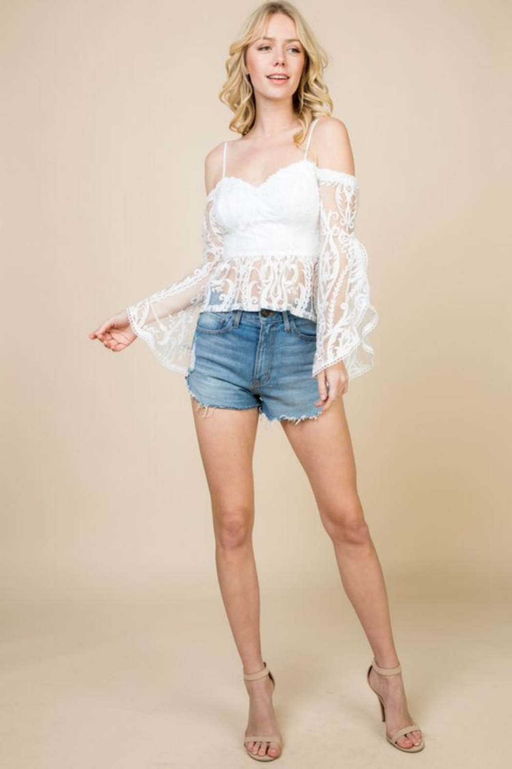 A Peach Off-Shoulder Lace Top - Front Cropped Image