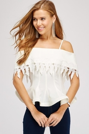 Lulumari Off-Shoulder Lace-Trimmed Top - Product Mini Image