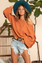 Blue Buttercup Off Shoulder Long Sleeve Top - Product Mini Image