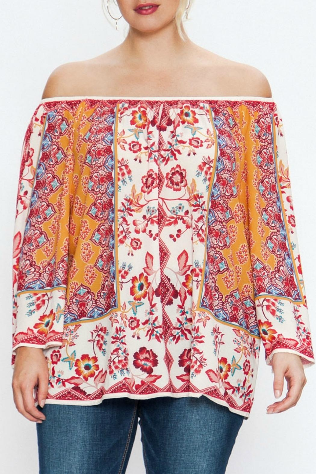 Flying Tomato Off-Shoulder Mixed Floral - Main Image