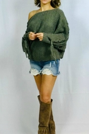 hummingbird Off-Shoulder Olive Sweater - Front full body