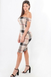 ShopWTD Off-Shoulder Plaid Dress - Front full body