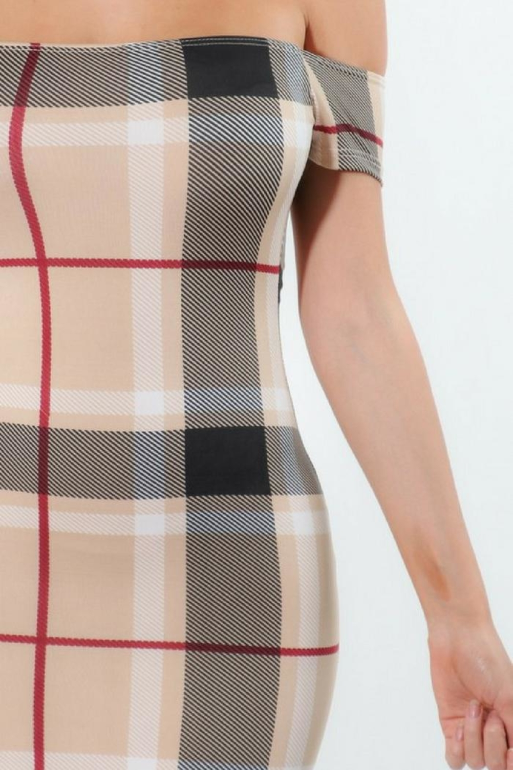ShopWTD Off-Shoulder Plaid Dress - Back Cropped Image