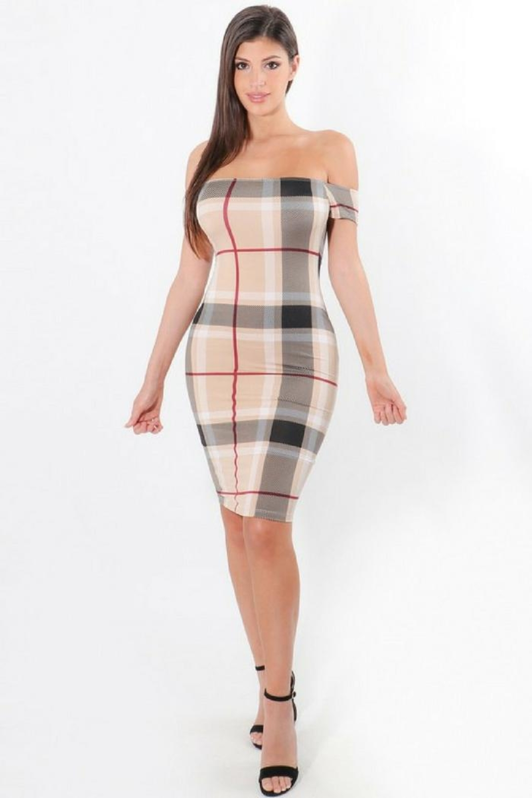 ShopWTD Off-Shoulder Plaid Dress - Main Image