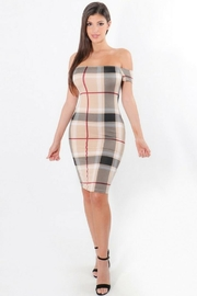 ShopWTD Off-Shoulder Plaid Dress - Front cropped