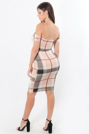 ShopWTD Off-Shoulder Plaid Dress - Side cropped