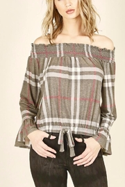 Vintage Havana Off shoulder Plaid Top - Product Mini Image