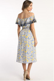 Skies Are Blue Off Shoulder Print Dress - Front full body