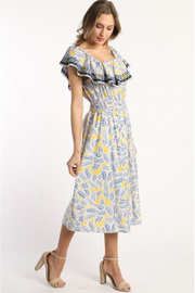 Skies Are Blue Off Shoulder Print Dress - Front cropped