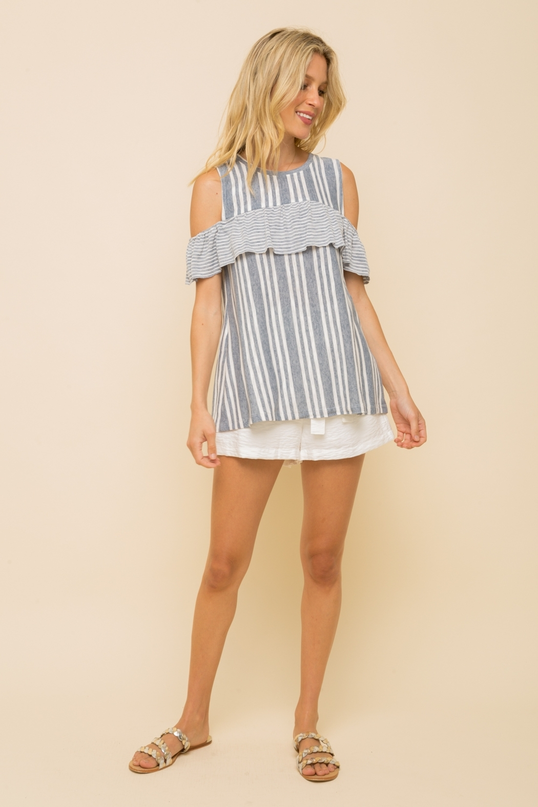 Hem and Thread OFF SHOULDER RUFFLE SLEEVE MUSCLE TOP - Main Image
