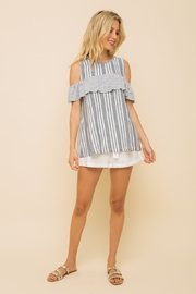 Hem and Thread OFF SHOULDER RUFFLE SLEEVE MUSCLE TOP - Front cropped