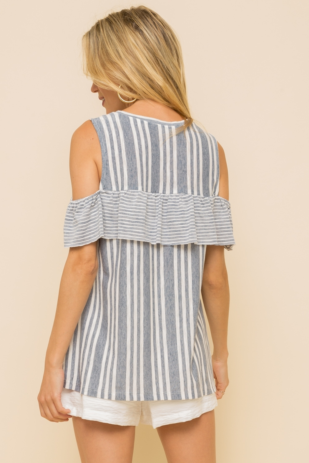 Hem and Thread OFF SHOULDER RUFFLE SLEEVE MUSCLE TOP - Side Cropped Image