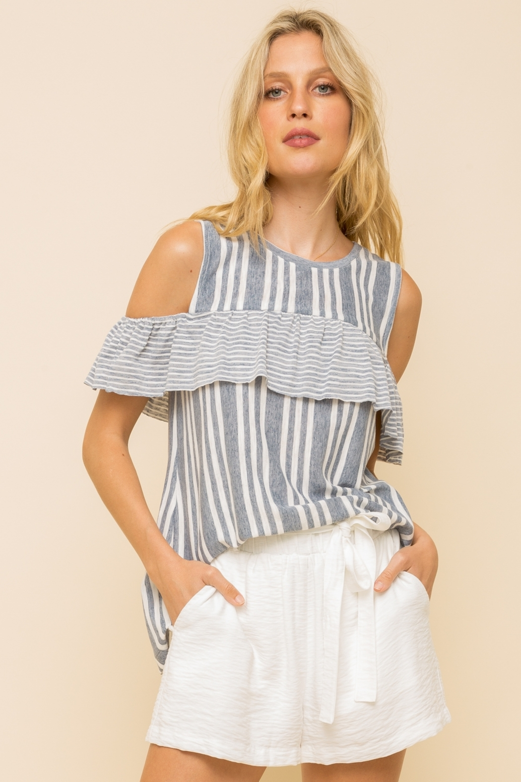 Hem and Thread OFF SHOULDER RUFFLE SLEEVE MUSCLE TOP - Front Full Image