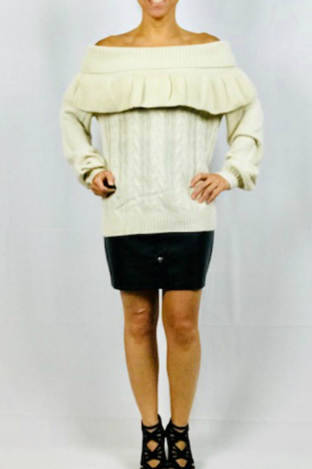 Very J Off-Shoulder Ruffle Sweater - Main Image