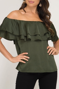 She + Sky Off-Shoulder Satin Top - Product List Image