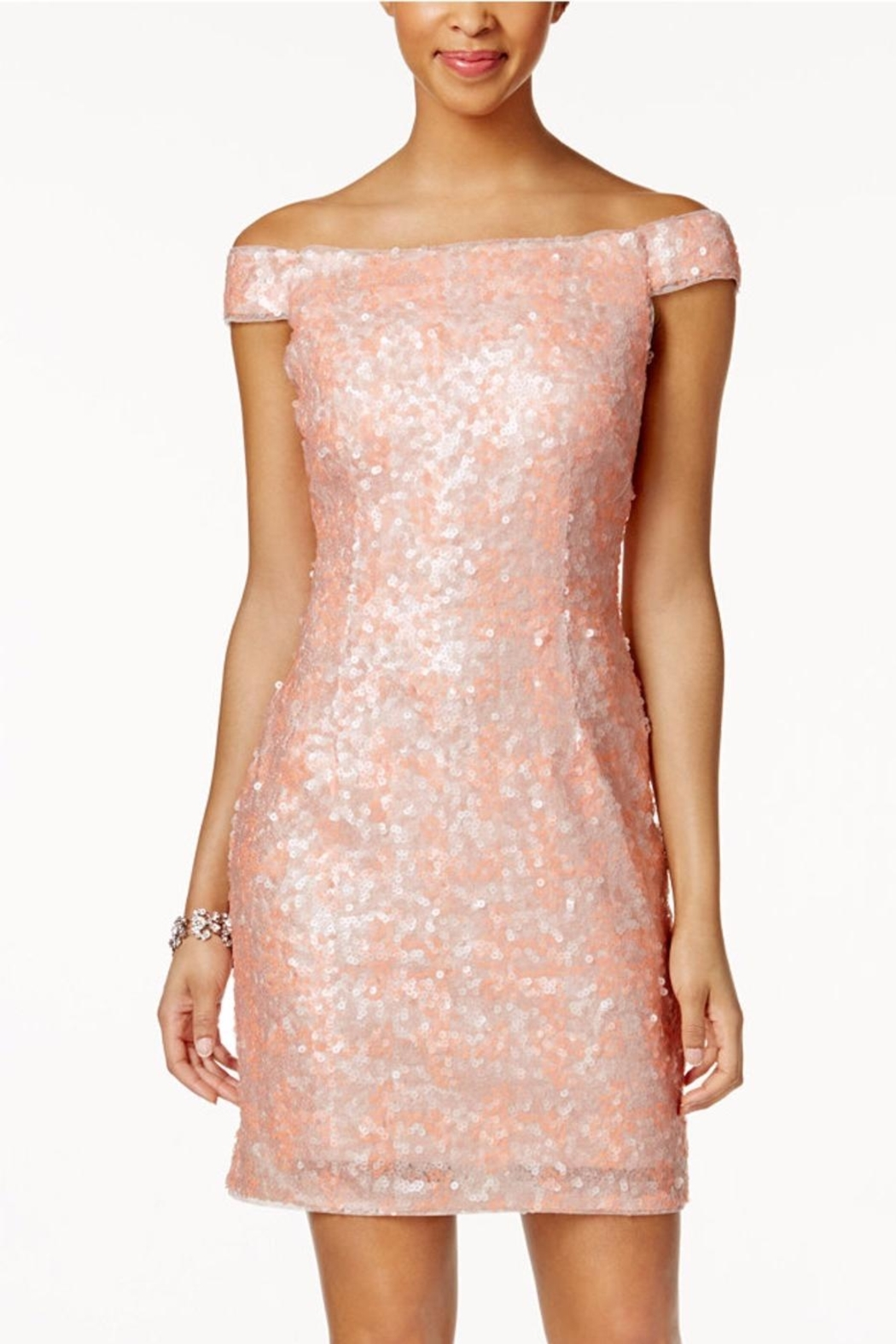 Adrianna Papell Off Shoulder Sheath Dress - Front Cropped Image