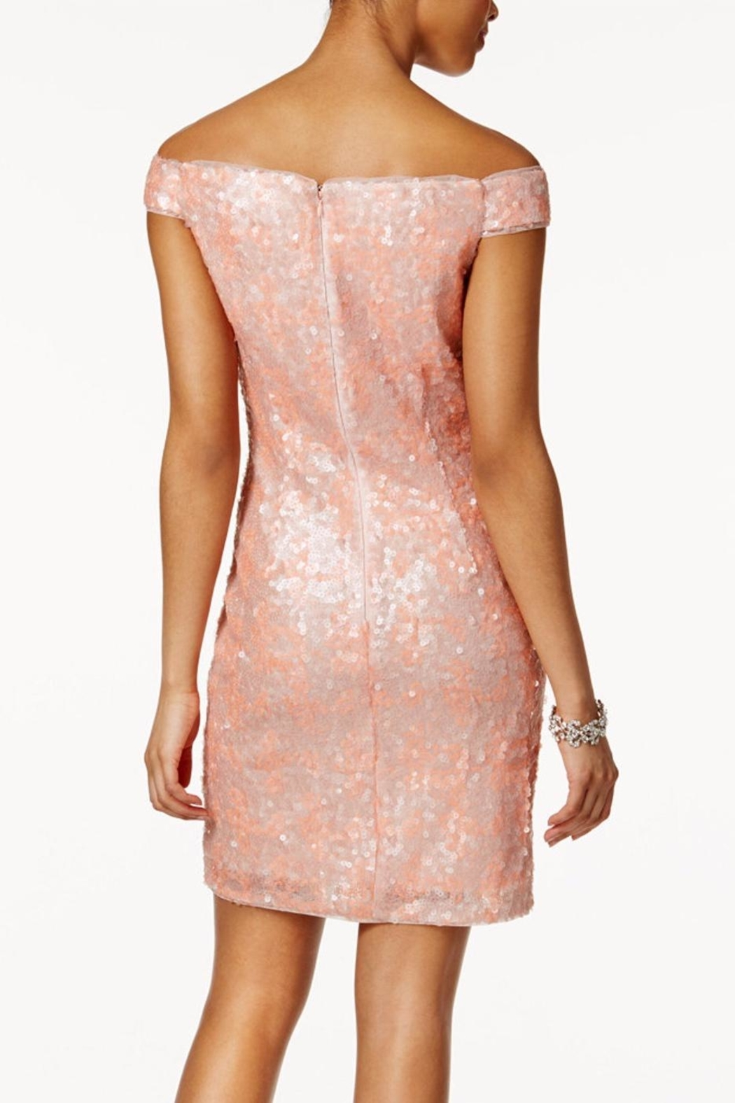 Adrianna Papell Off Shoulder Sheath Dress - Front Full Image