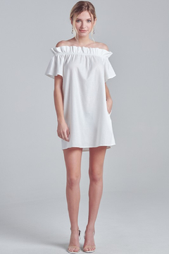 R+D Off Shoulder Shirring Dress - Alternate List Image