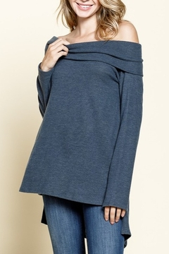 Mittoshop OFF SHOULDER SIDE SLIT HI & LOW HEM TUNIC - Product List Image