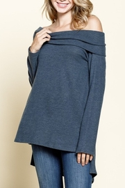 Mittoshop OFF SHOULDER SIDE SLIT HI & LOW HEM TUNIC - Product Mini Image