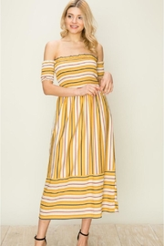 fashion on earth Off-Shoulder Stripe Dress - Product Mini Image