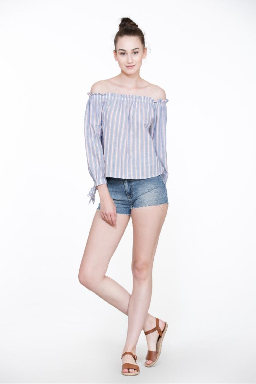 En Creme Off-Shoulder Stripe Top - Front Full Image