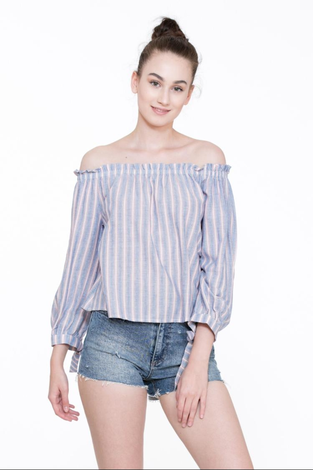 En Creme Off-Shoulder Stripe Top - Main Image