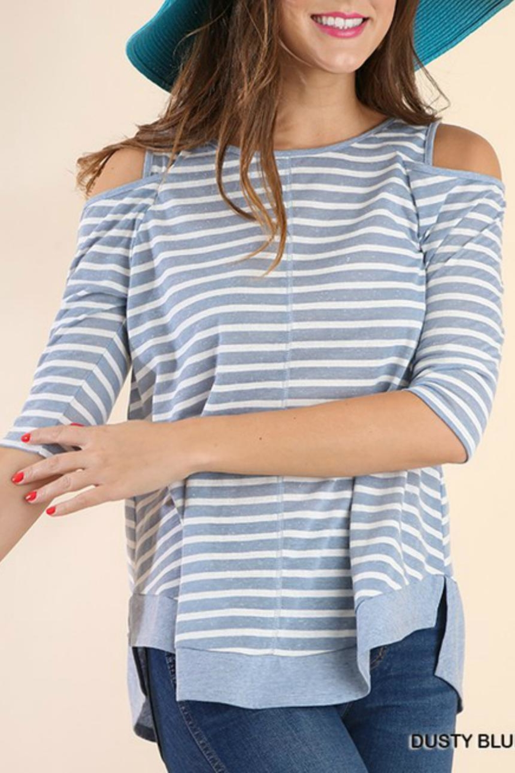 Umgee USA Off-Shoulder Stripe Tunic - Front Cropped Image