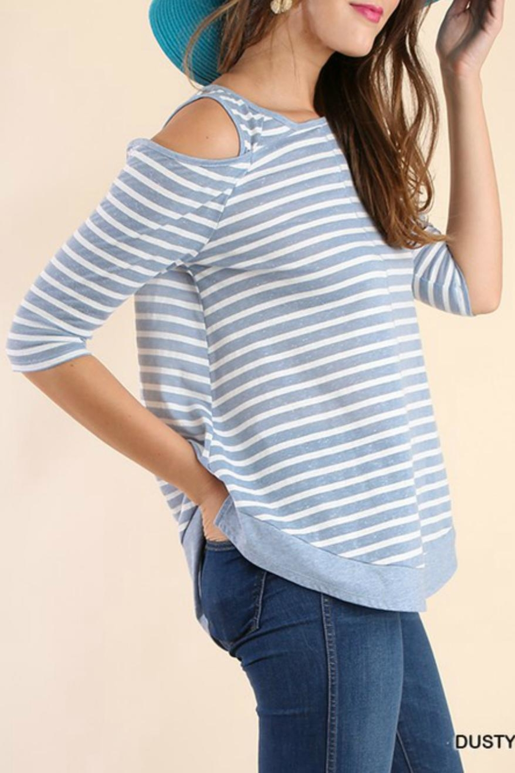 Umgee USA Off-Shoulder Stripe Tunic - Front Full Image