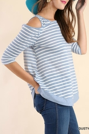 Umgee USA Off-Shoulder Stripe Tunic - Front full body
