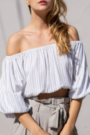 Grade and Gather Off-Shoulder Striped Crop - Product Mini Image