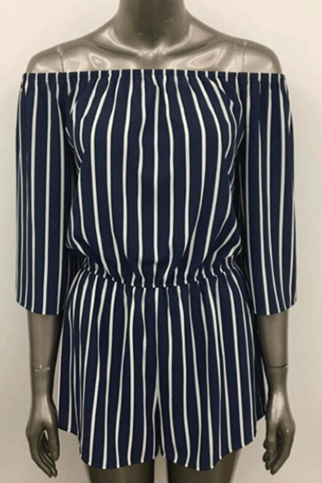 Ambiance Off-Shoulder Striped Romper - Main Image