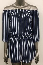 Ambiance Off-Shoulder Striped Romper - Front cropped