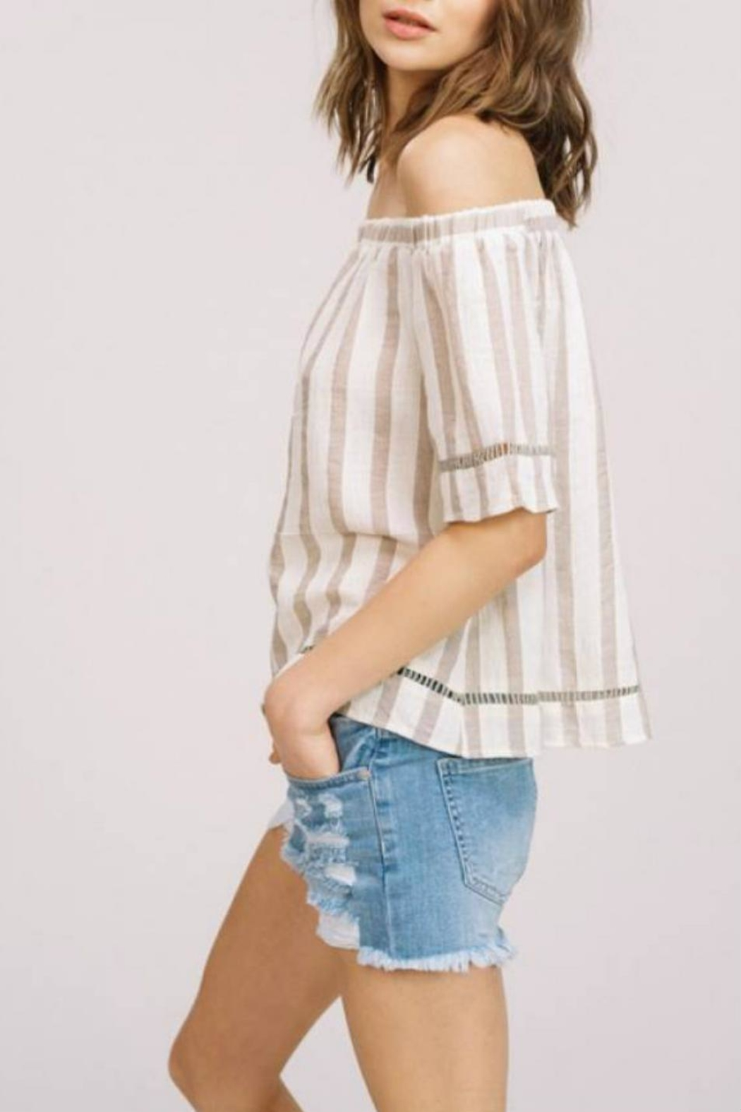 Listicle Off-Shoulder Striped Top - Side Cropped Image
