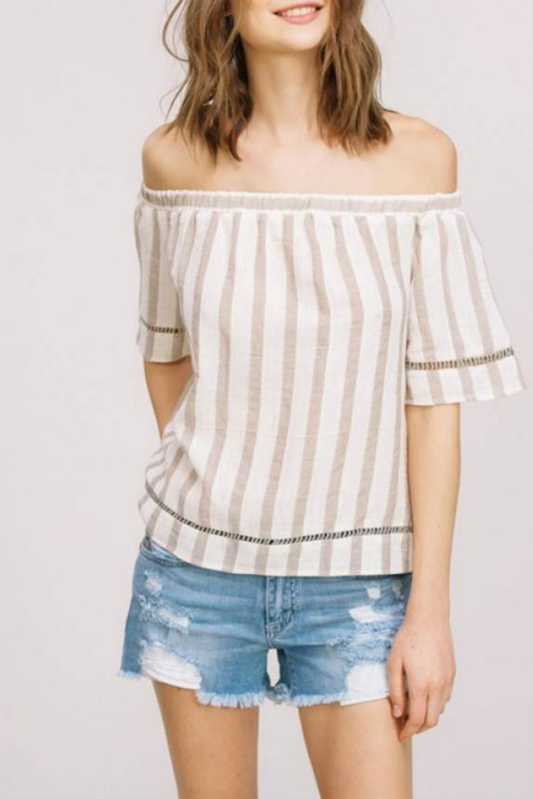 Listicle Off-Shoulder Striped Top - Main Image