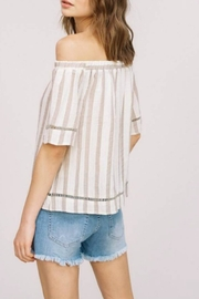 Listicle Off-Shoulder Striped Top - Front full body