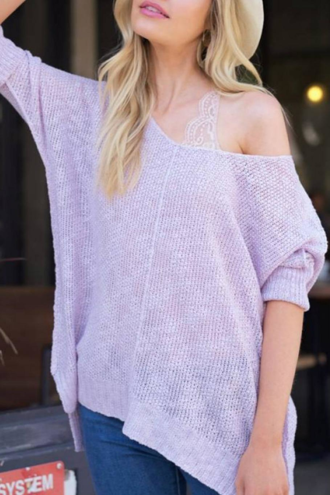 Hyped Unicorn Off-Shoulder Summer Sweater - Side Cropped Image