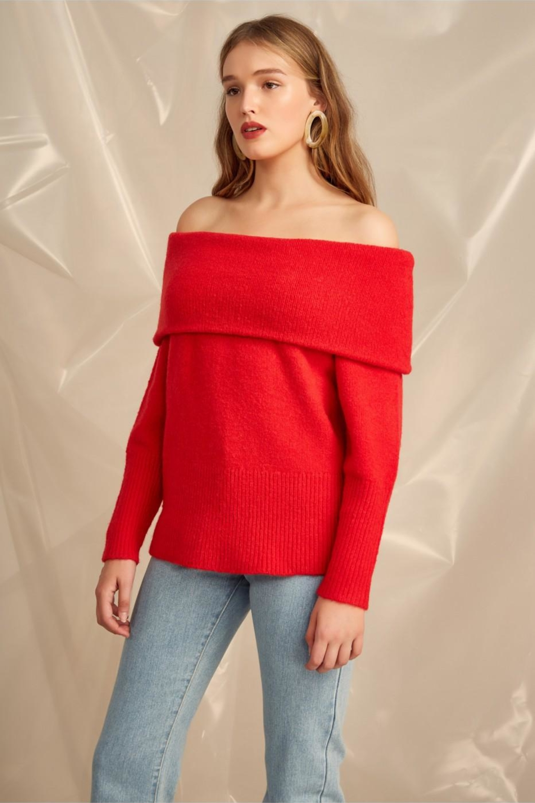 C/MEO COLLECTIVE Off Shoulder Sweater - Front Full Image