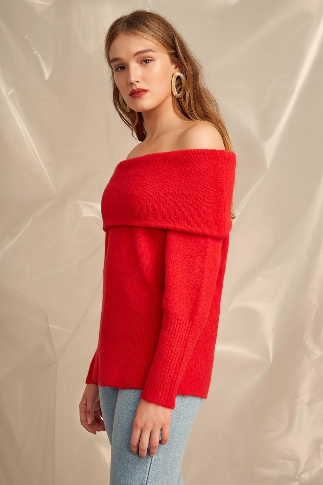 C/MEO COLLECTIVE Off Shoulder Sweater - Side Cropped Image