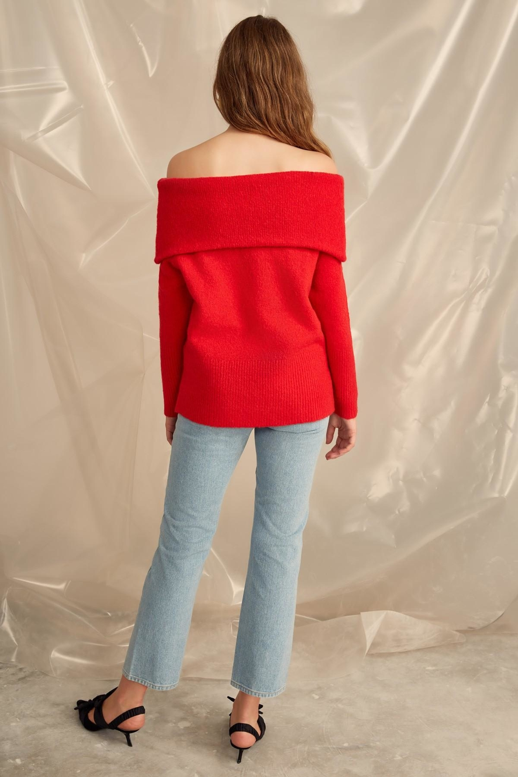 C/MEO COLLECTIVE Off Shoulder Sweater - Back Cropped Image