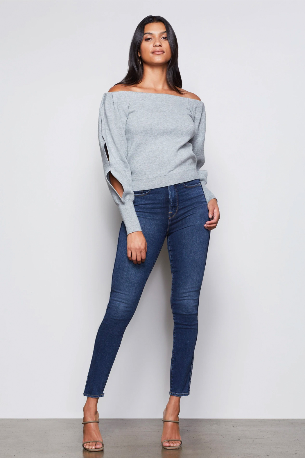 Good American  Off Shoulder Sweater - Side Cropped Image